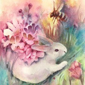 Original painting bunny rabbit art from artist